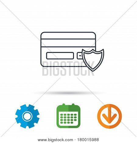 Protection credit card icon. Shopping sign. Calendar, cogwheel and download arrow signs. Colored flat web icons. Vector
