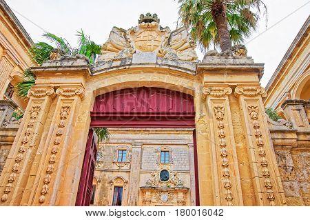 Entrance Gate Into Natural History Museum In Mdina Malta