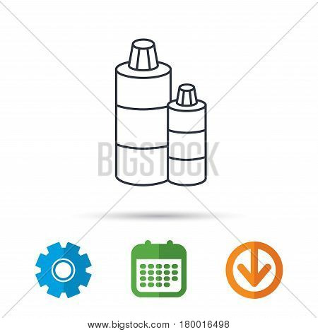 Shampoo bottles icon. Liquid soap sign. Calendar, cogwheel and download arrow signs. Colored flat web icons. Vector
