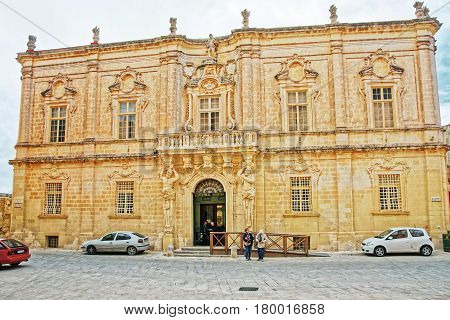 People At Cathedral Museum In Mdina Malta