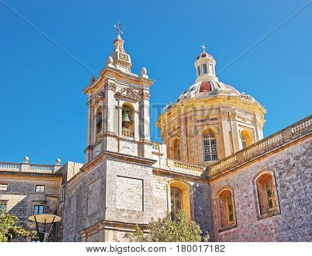 St Paul Cathedral In Mdina On Malta