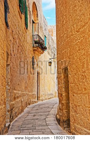 Tight Street With Lantern At Ancient City In Mdina