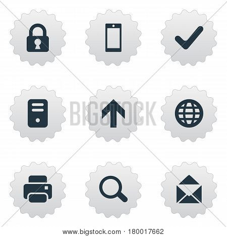 Vector Illustration Set Of Simple Apps Icons. Elements Smartphone, Magnifier, Web And Other Synonyms Okay, Printer And Touchscreen.