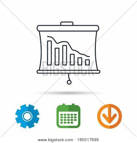 Statistic icon. Presentation board sign. Defaulted chart symbol. Calendar, cogwheel and download arrow signs. Colored flat web icons. Vector