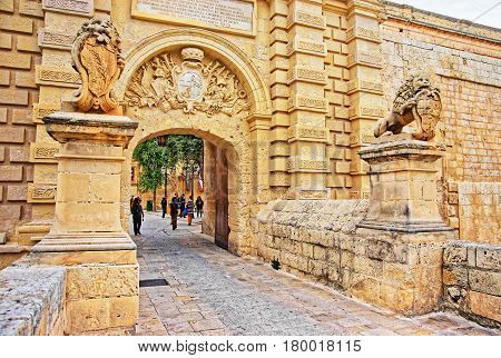 Mdina Gate And Entrance In Old Fortified City Malta