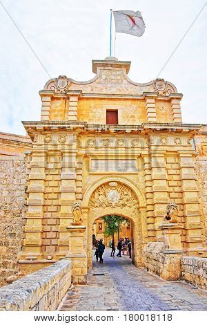Mdina Gate And Entrance Into Old Fortified City Malta