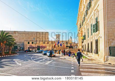 People At Auberge De Castille Building In Merchant Street Valletta