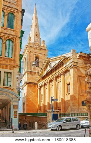 Street Of St Paul Cathedral In Valletta Old Town