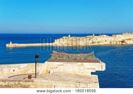 Breakwater at Fort Ricasoli of Kalkara at Grand Harbor in Valletta Malta