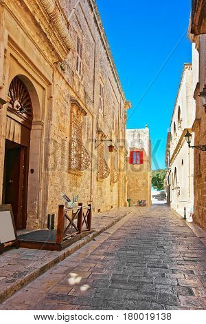 Narrow Silent Street At Mdina Old Town