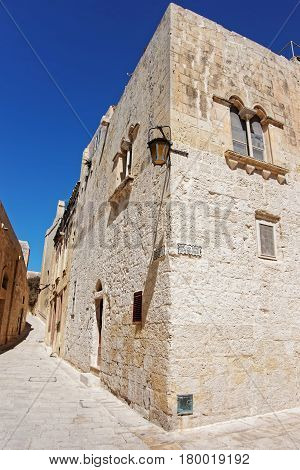 Narrow Silent Street With Lantern In Mdina Old Town
