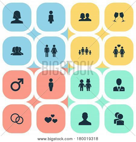 Vector Illustration Set Of Simple Beloved Icons. Elements Double, Husband, Male Synonyms Wife, Boy And Wineglass.