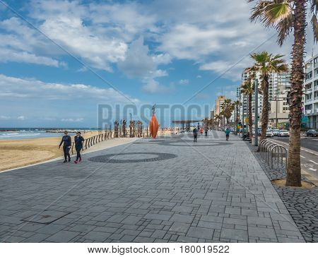 Tel-aviv, Israel - March 03, 2017: Tel Aviv Beach Coast With A View Of Mediterranean Sea, Israel.