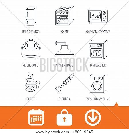 Microwave oven, washing machine and blender icons. Refrigerator fridge, dishwasher and multicooker linear signs. Coffee icon. Download arrow, locker and calendar web icons. Vector