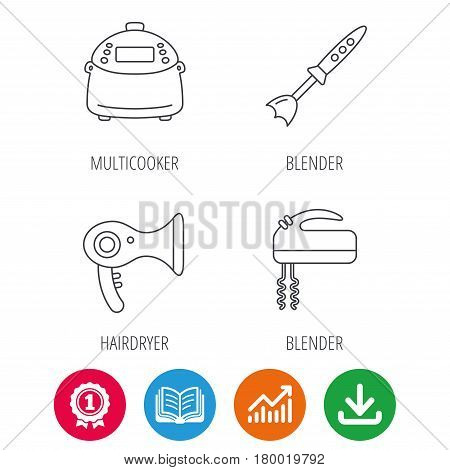 Multicooker, hair-dryer and blender icons. Mixer linear sign. Award medal, growth chart and opened book web icons. Download arrow. Vector