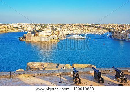 Saluting Battery At Grand Harbor In Valletta Malta