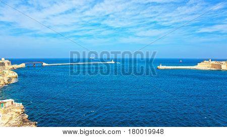 Ship At Breakwaters At Fort Ricasoli Kalkara St Elmo Valleta