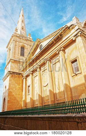 Street On St Paul Cathedral In Valletta Old Town