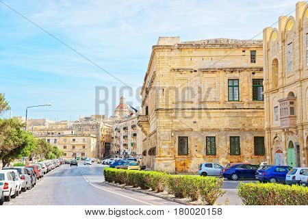 Street View On Basilica Of St Dominic Valletta Old Town