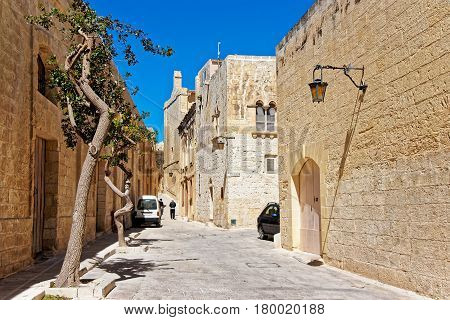 Street with lamp in Mdina of Malta