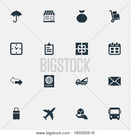 Vector Illustration Set Of Simple Delivery Icons. Elements Gingham, Clipboard, Opposite Directions And Other Synonyms Agenda, Pouch And Board.