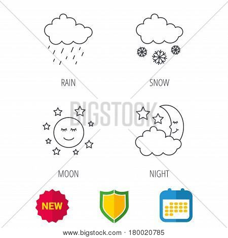 Weather, night and rain icons. Moon night and snow linear signs. Shield protection, calendar and new tag web icons. Vector