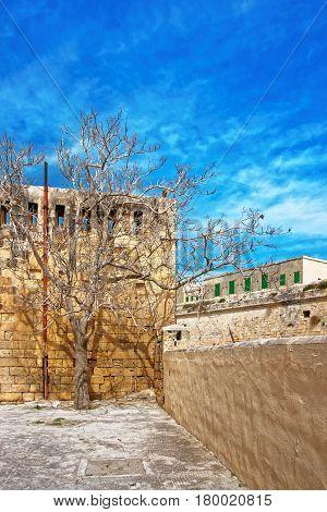 Walls Of St Elmo Fort In Valletta Malta