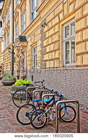 Bicycles At Cervantes Institute In Old Town Of Krakow