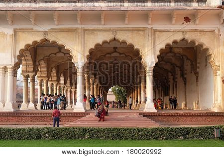 AGRA, INDIA - FEBRUARY 14 : Diwan-i-Am, or Hall of Public Audience, at Agra Fort, UNESCO World heritage site in Agra. Uttar Pradesh, India on February, 14, 2016.