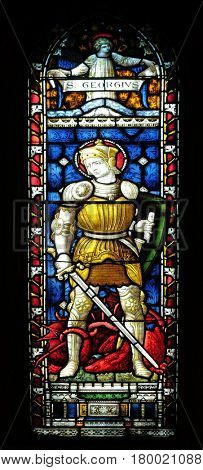 ROME, ITALY - SEPTEMBER 02: Saint George on the stained glass of All Saints' Anglican Church, Rome, Italy on September 02, 2016.