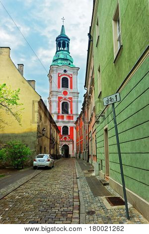 Cobblestone Street At St Stanislaus Church In Old Town Poznan