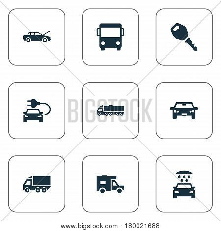 Vector Illustration Set Of Simple Auto Icons. Elements Key, Car Charging, Van And Other Synonyms Trucking, Motorcar And Transportation.