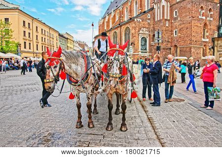 Horse Fiacre And People At Krakow Old Town