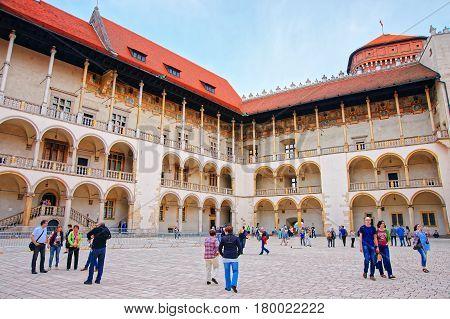 People At Inner Courtyard At Wawel Castle Krakow