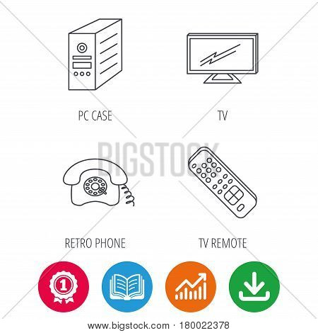 TV remote, retro phone and TV remote icons. Widescreen TV linear sign. Award medal, growth chart and opened book web icons. Download arrow. Vector