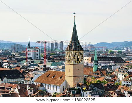 Spires Of Saint Peter Church And Augustinian Church Zurich