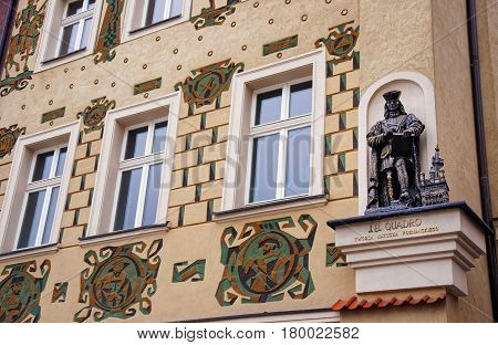 Statue As Decoration On Building On Market Square In Poznan