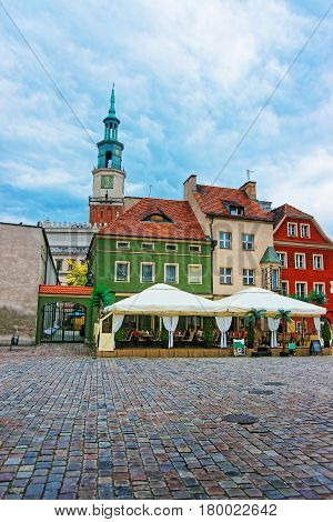 Street Cafes On Old Market Square In Poznan
