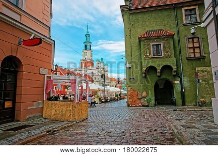 Street View Of Old Town Hall On Market Square Poznan