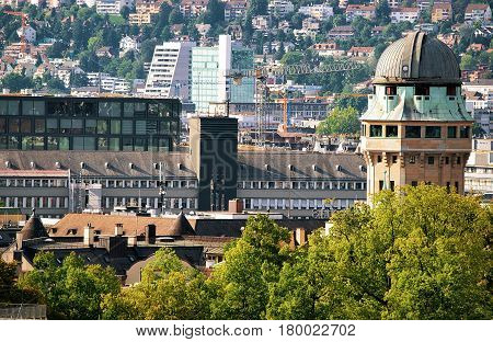 Telescope Dome And Rooftops In Zurich