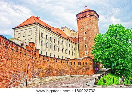Tower Of Wawel Castle And Defensive Walls Krakow