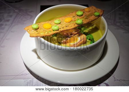 Vegetable Soup With Crisp On White Plate