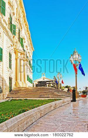 Auberge De Castille Building On Merchant Street In Valletta