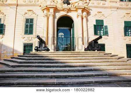 Facade Of Auberge De Castille Building In Valletta