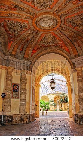 Lantern At Courtyard Of Grandmaster Palace Valletta
