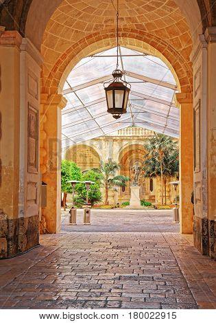 Lantern At Courtyard In Grandmaster Palace Valletta