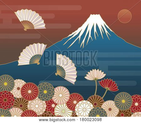 Fuji mountain Hand-fan and Chrysanthemum flowers Japanese traditional pattern