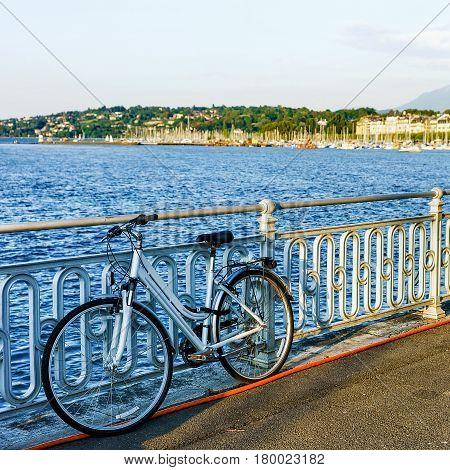 Bicycle At Promenade Of Quai Fleuri At Geneva Lake