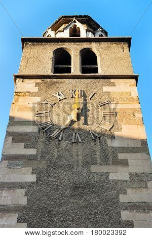 Clock Tower Of Madeleine Church In Old Town In Geneva