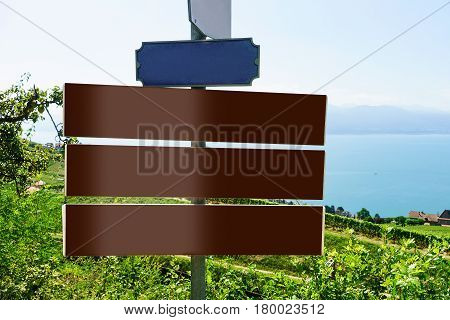 Direction Plates At Vineyard Terraces Trail Of Lavaux Of Switzerland